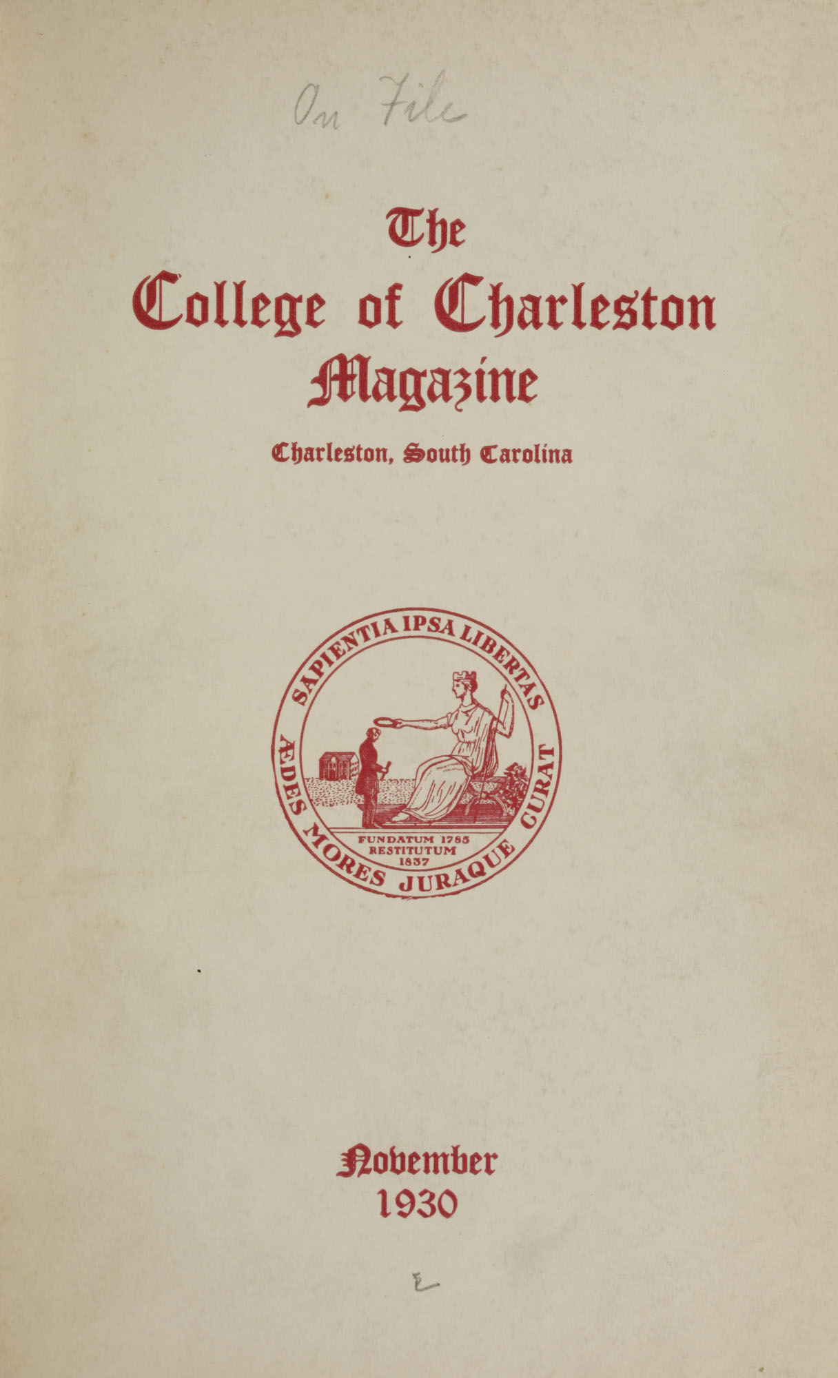College of Charleston Magazine, 1930-1931