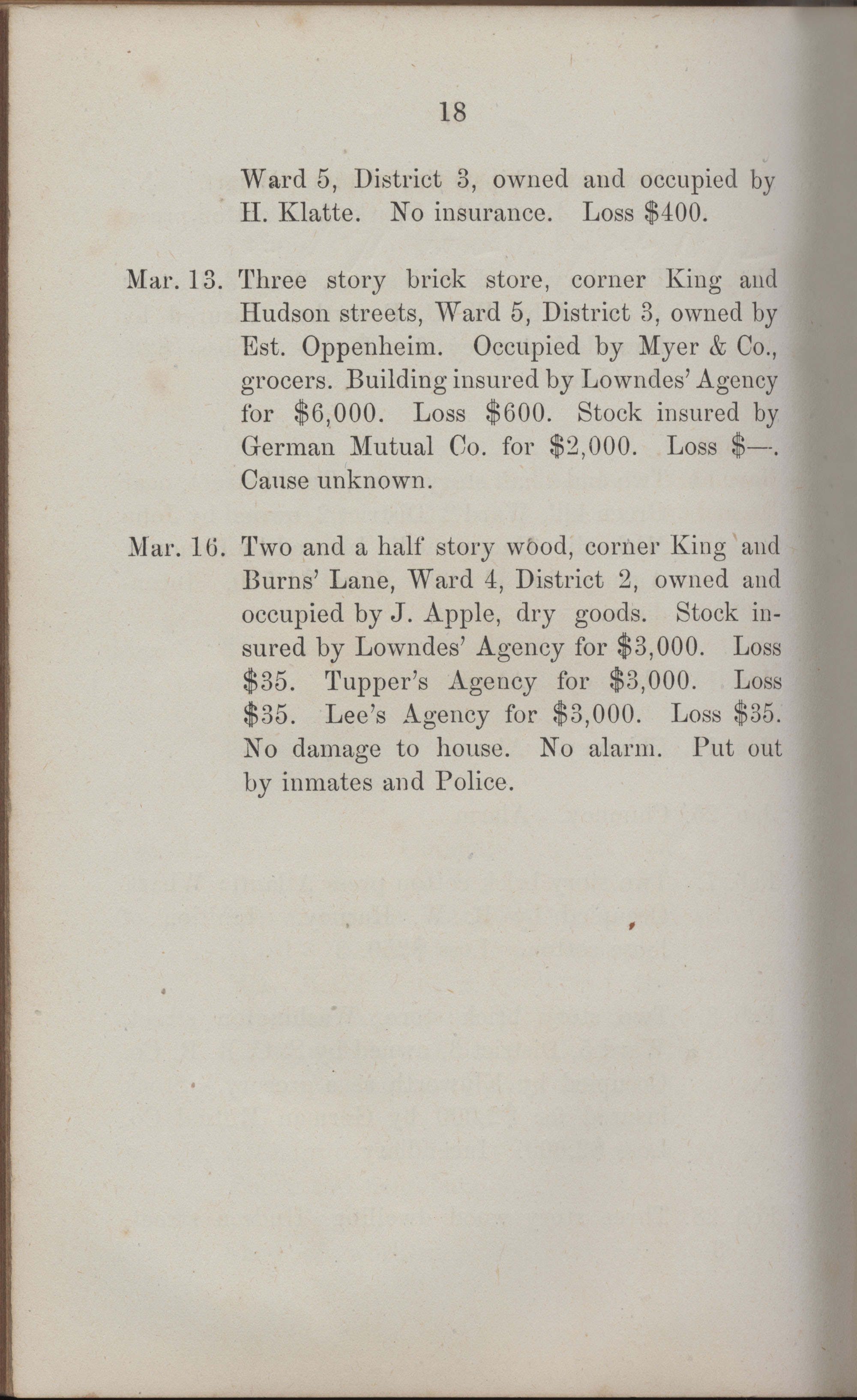 Annual Report of the Chief of the Fire Department of the City of Charleston, page 413
