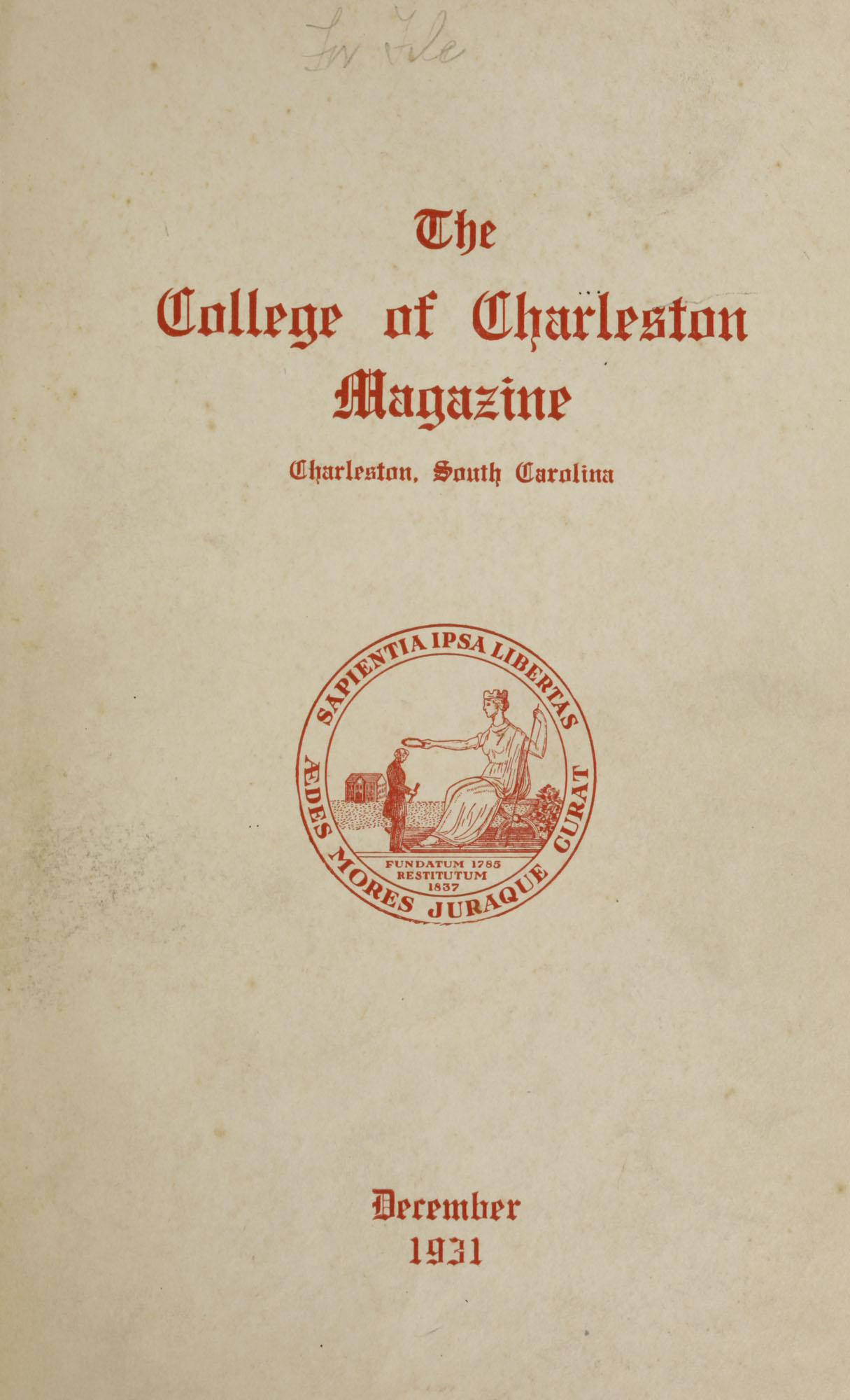 College of Charleston Magazine, 1931-1932