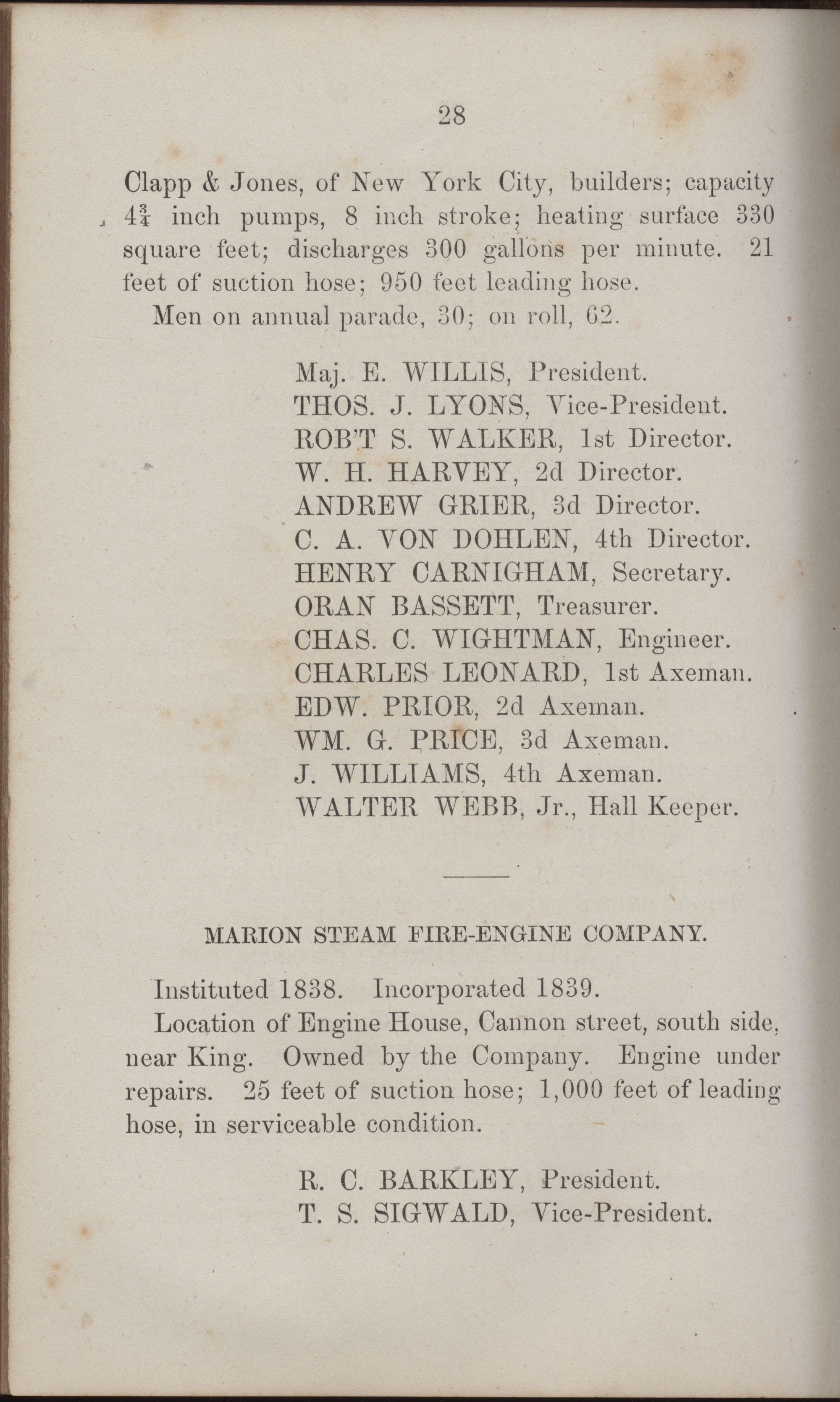 Annual Report of the Chief of the Fire Department of the City of Charleston, page 423