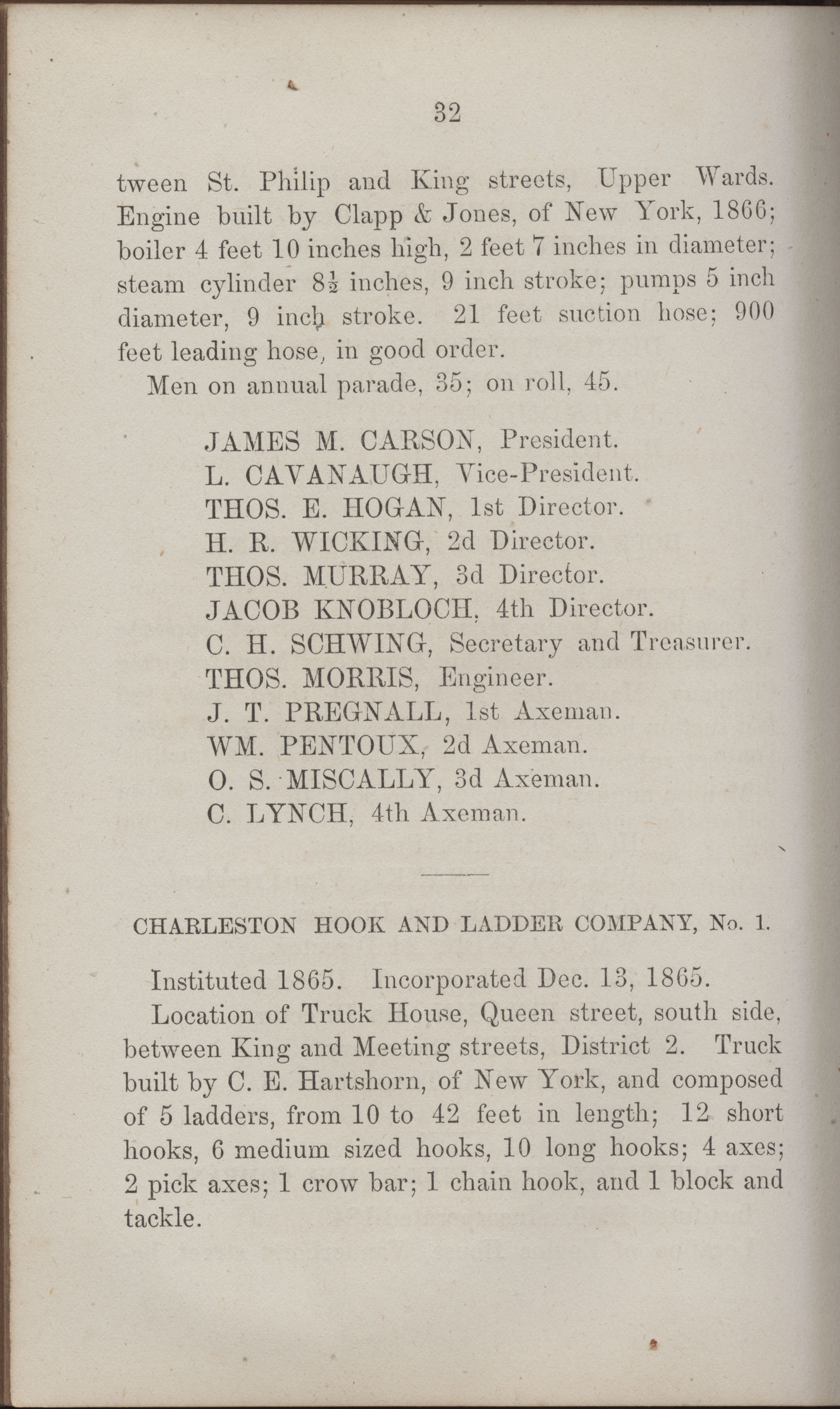 Annual Report of the Chief of the Fire Department of the City of Charleston, page 427