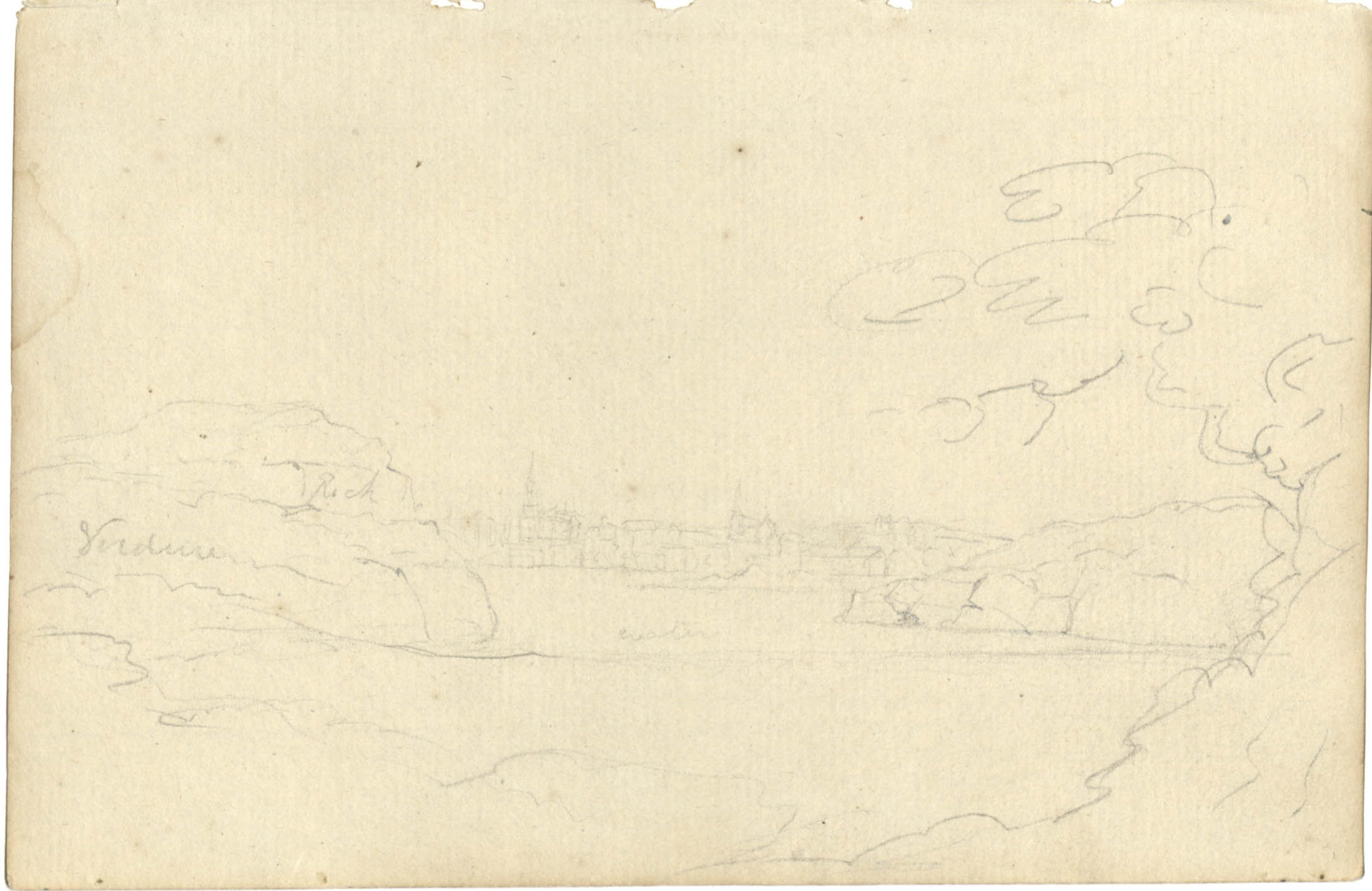 Sketch of distant cityscape