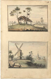 Landscape paintings, thatched roof shelter and windmill