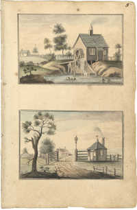 Landscape paintings, mill and gatehouse