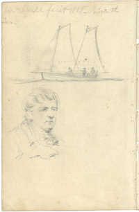 Portrait sketch and sketch of sailboat