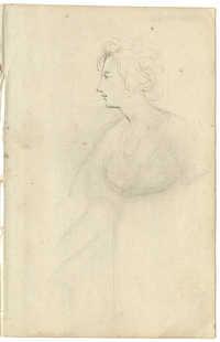 Portrait sketch of woman in profile