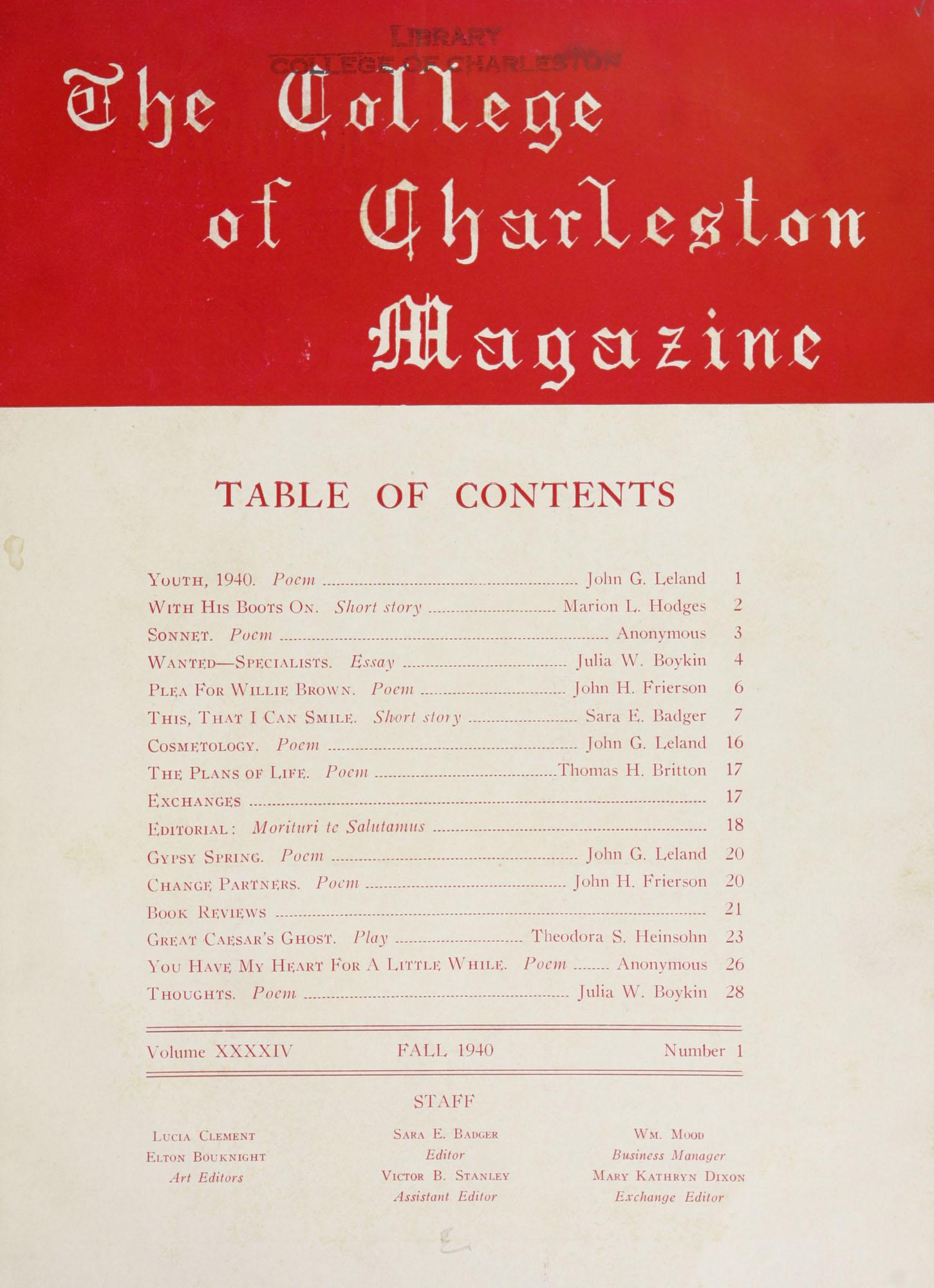 College of Charleston Magazine, 1940-1941
