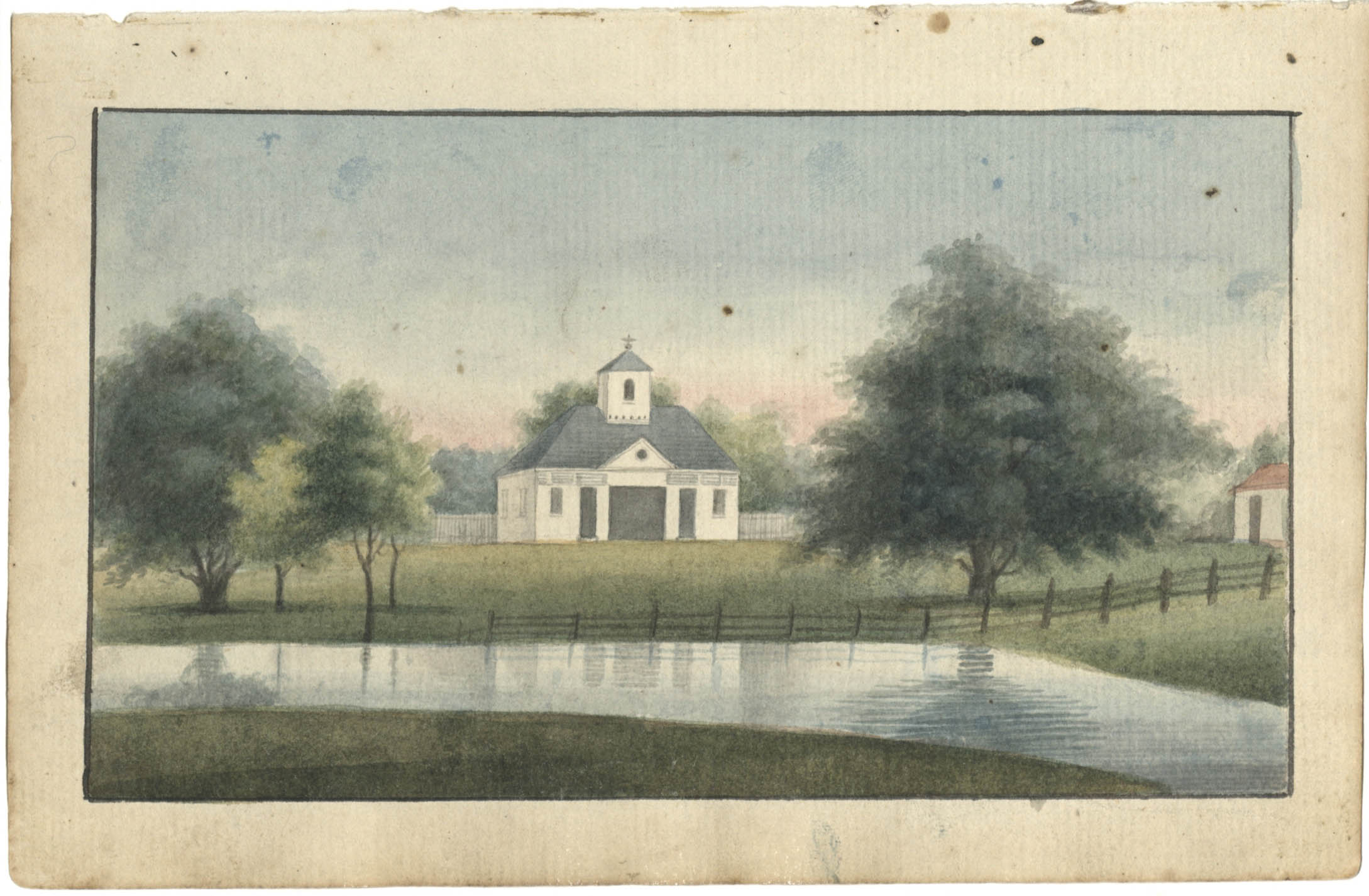 Landscape painting, white church with bell tower