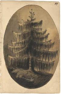 Landscape painting, fir tree