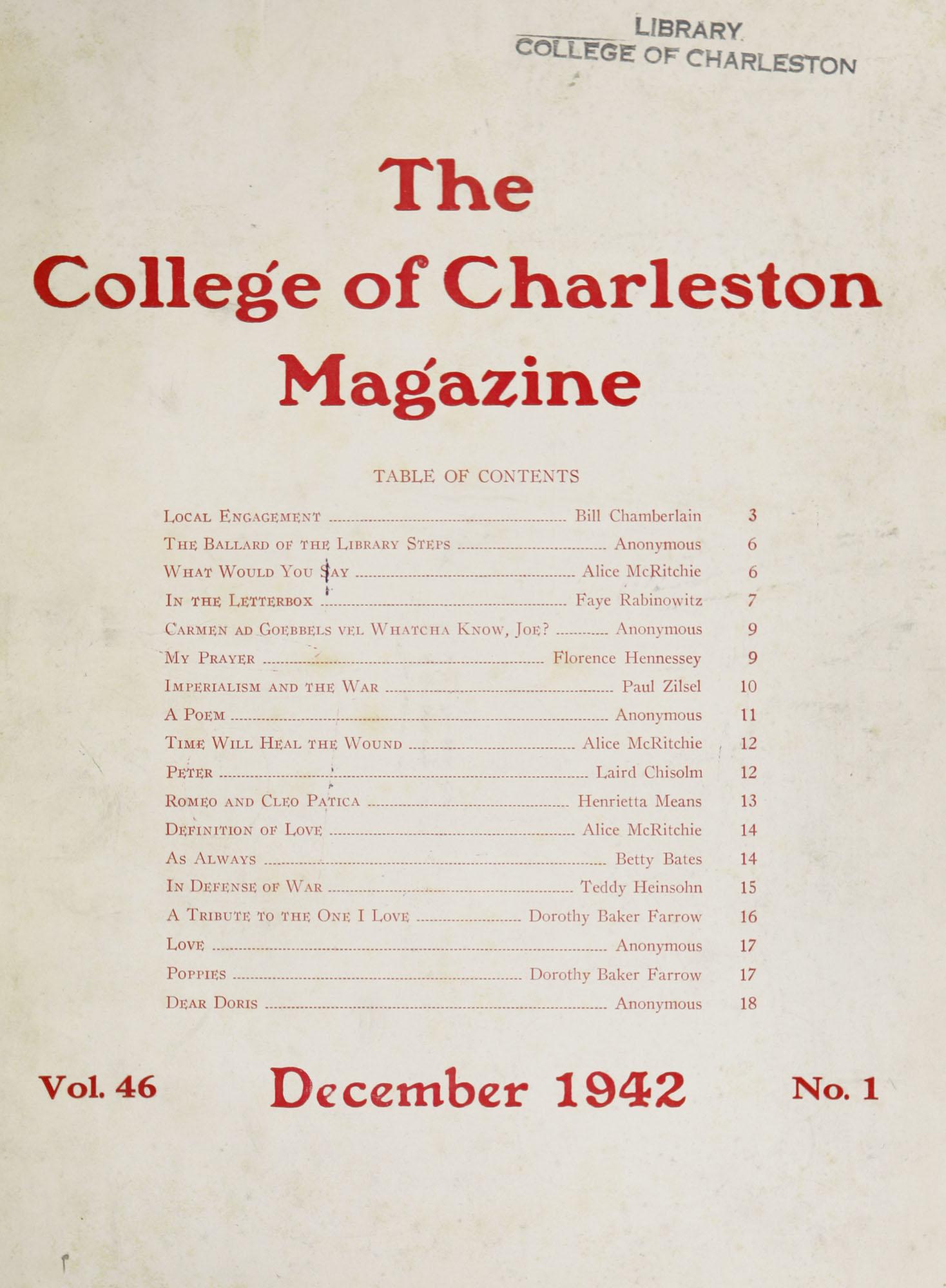 College of Charleston Magazine, 1942-1943
