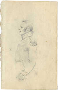 Sketch of soldier in profile