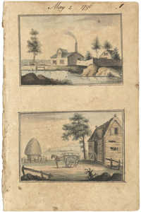 Landscape sketches of farm on river