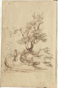 Sketch of man on rural road