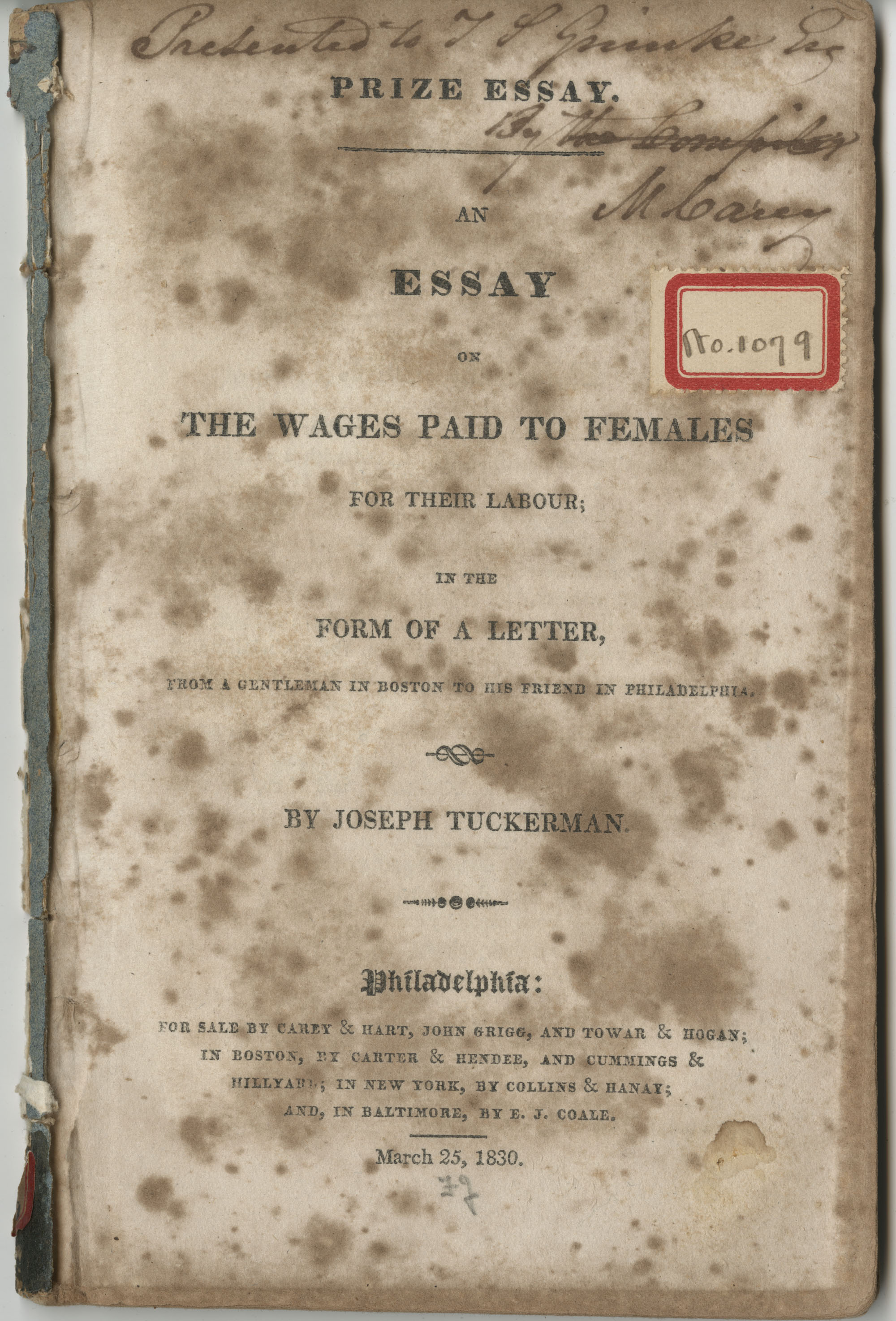 Essay on the wages paid to females for their labour, Title page