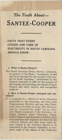 Santee-Cooper: The Truth About - Santee-Cooper: Facts that Every Citizen and User of Electricity in South Carolina Should Know, 1943