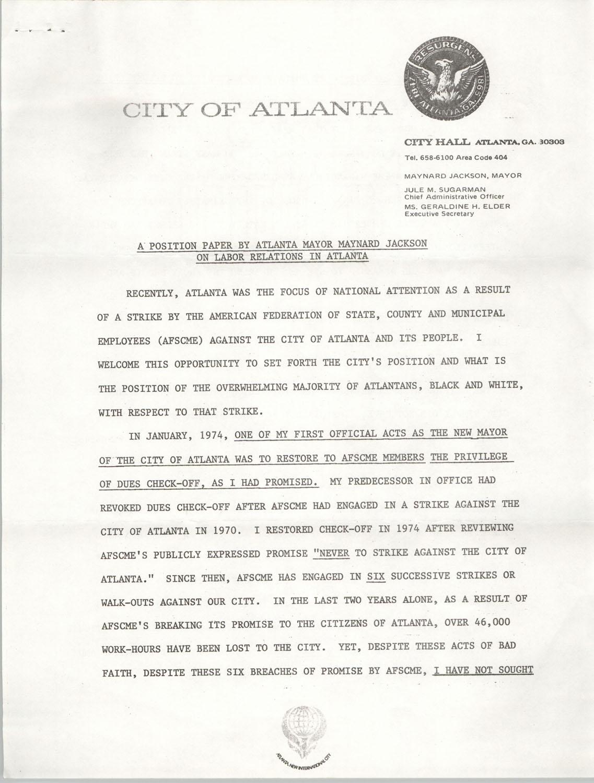 A Position Paper By Atlanta Mayor Maynard Jackson On Labor Relations In Atlanta