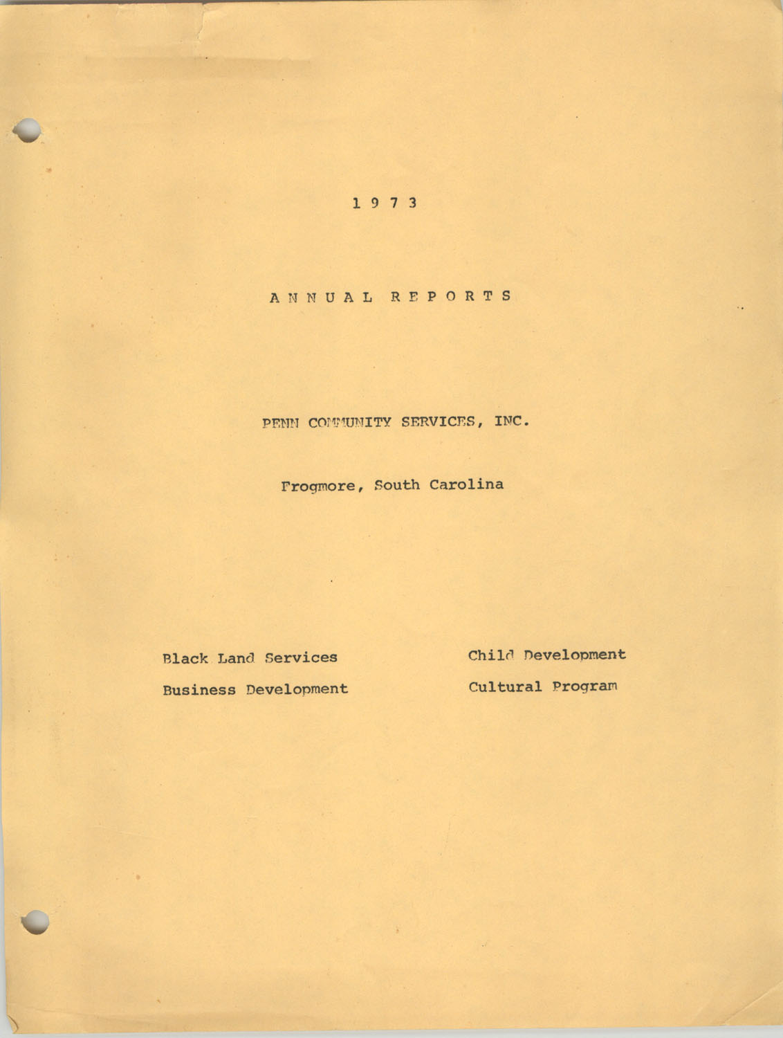Annual Reports, Penn Community Services, 1973