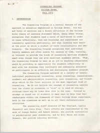 College Seven Report, Counseling Program, Fall 1973