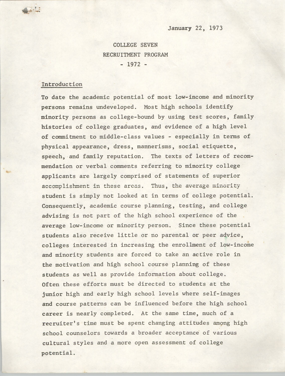 College Seven Report, Recruitment Program 1972