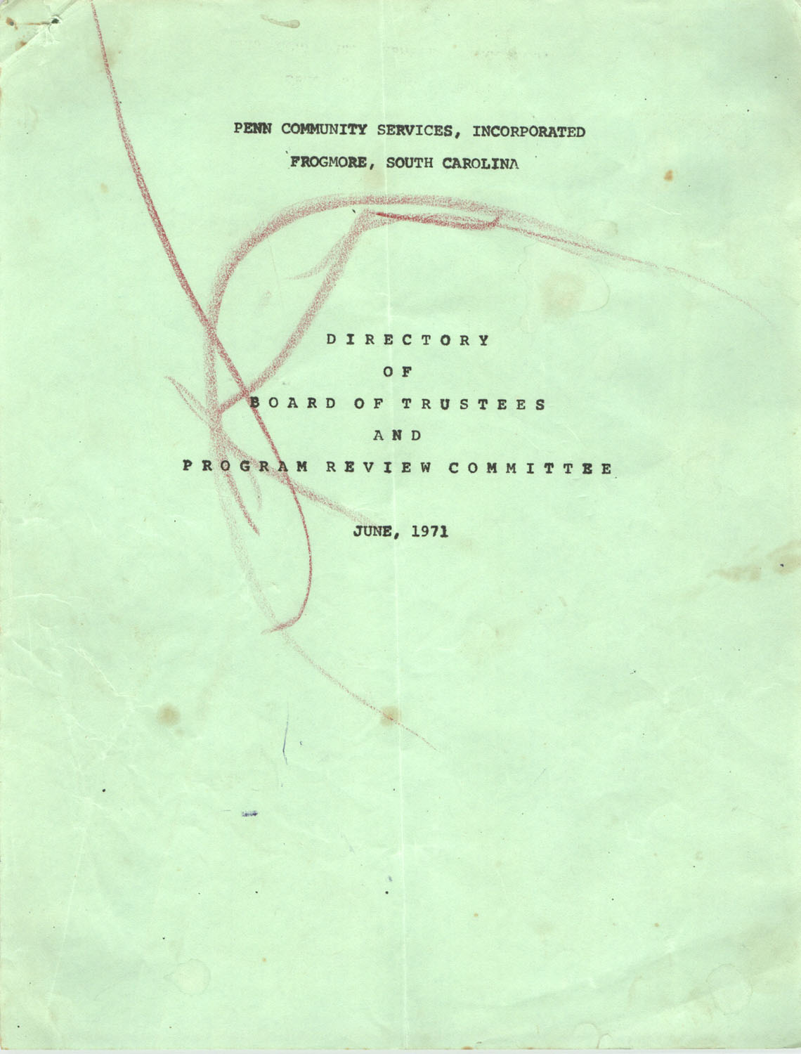 Directory of Board of Trustees and Program Review Committee, Penn Community Services, June 1971