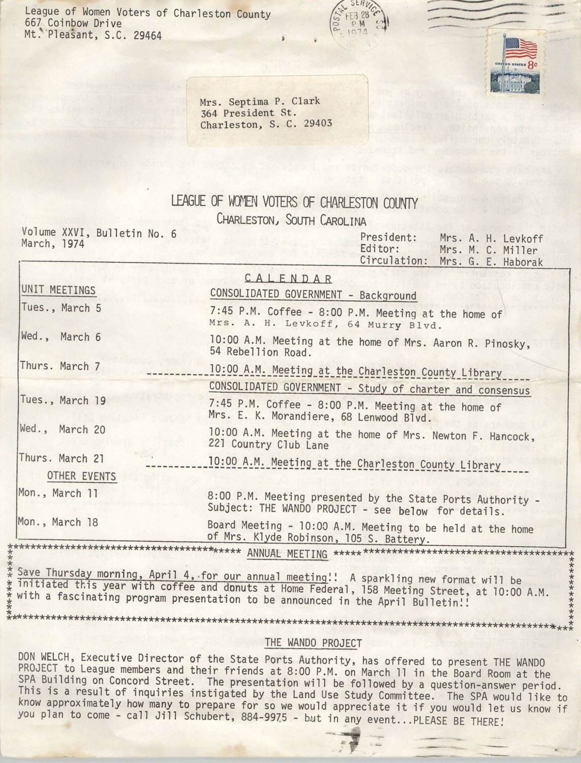League of Women Voters of Charleston County, Volume XXVI, Bulletin No. 6, March 1972