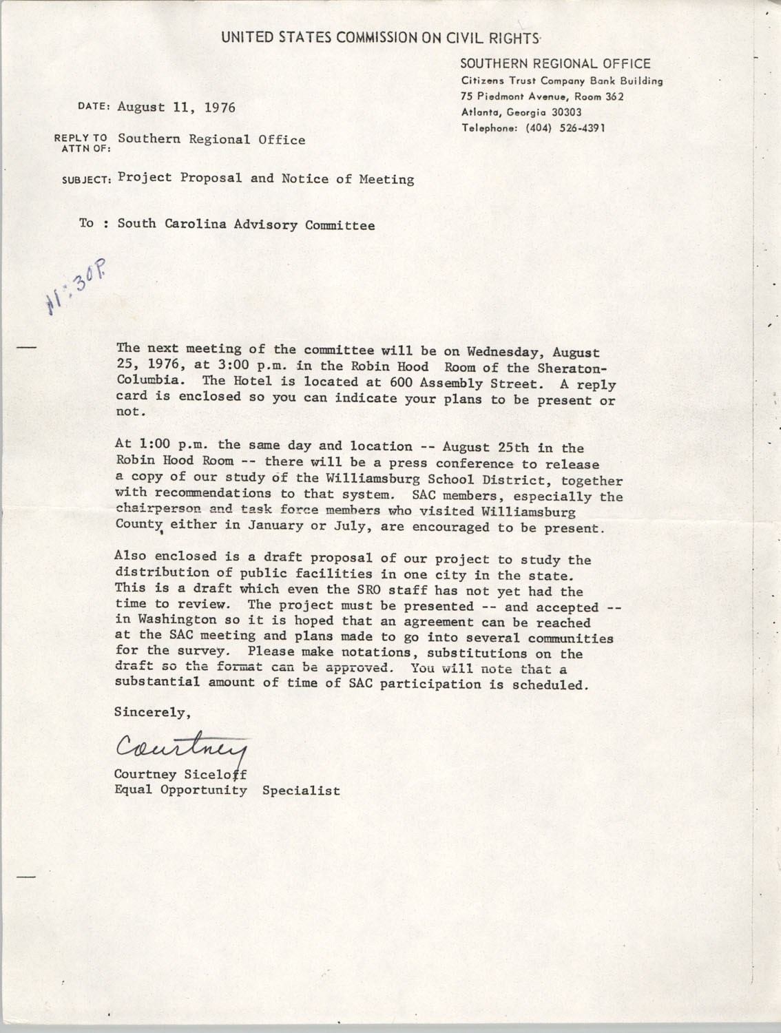 Racial Discriminatory Allocation of Municipal Facilities and Services in South Carolina, August 11, 1976