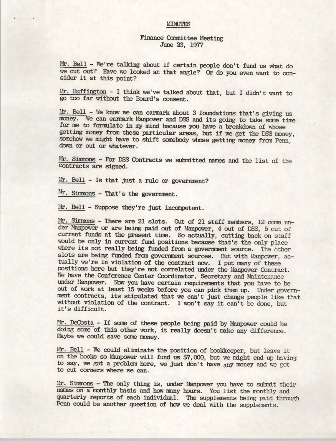 Minutes, Finance Committee Meeting, Penn Community Services, June 23, 1977