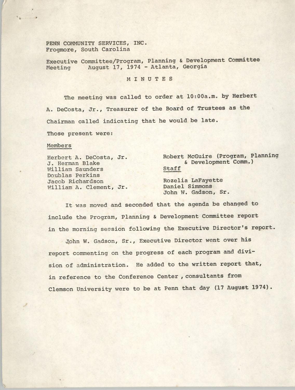 Minutes, Penn Community Services, August 17, 1974