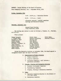 Minutes, Penn Community Services, September 20-21, 1974