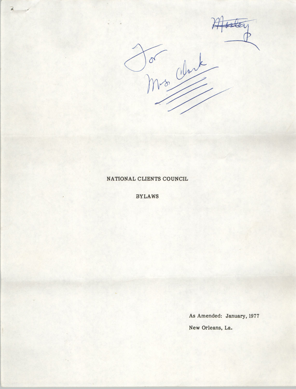National Clients Council Bylaws, January 1977