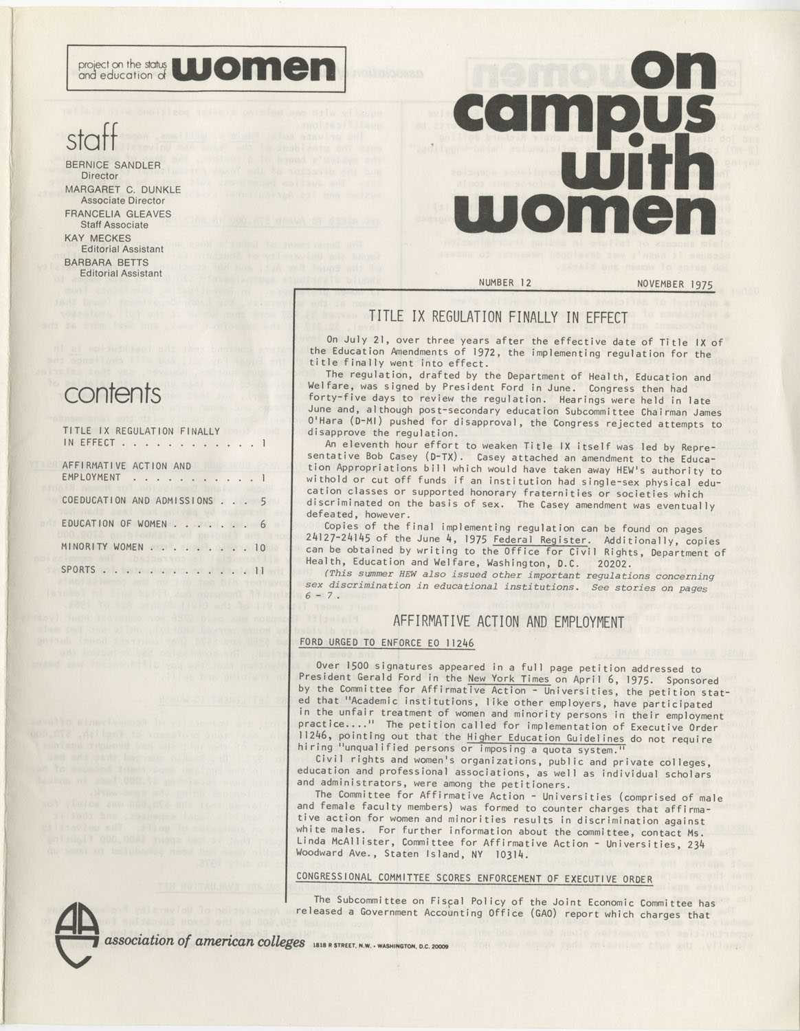 On Campus With Women, Association of American Colleges, November 1975