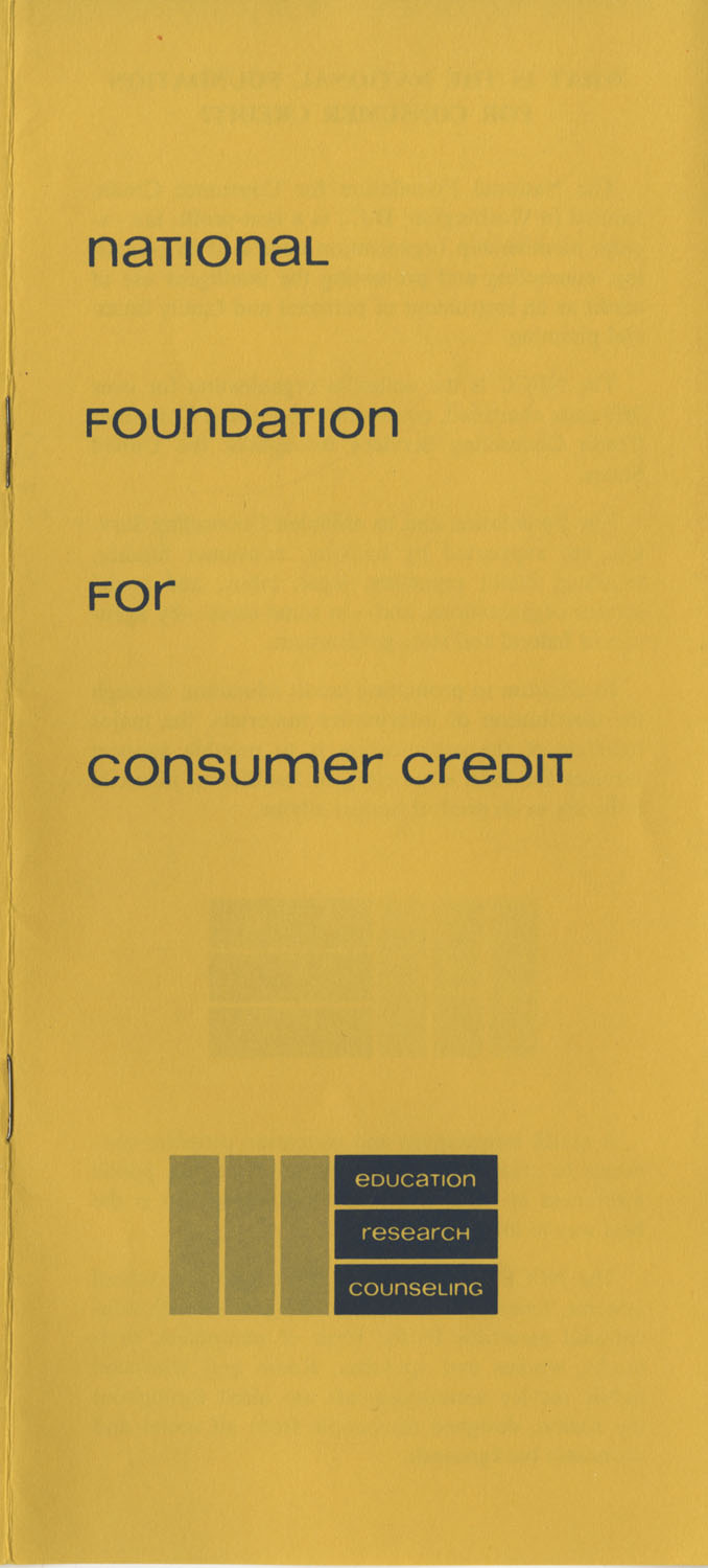 Pamphlet, National Foundation for Consumer Credit