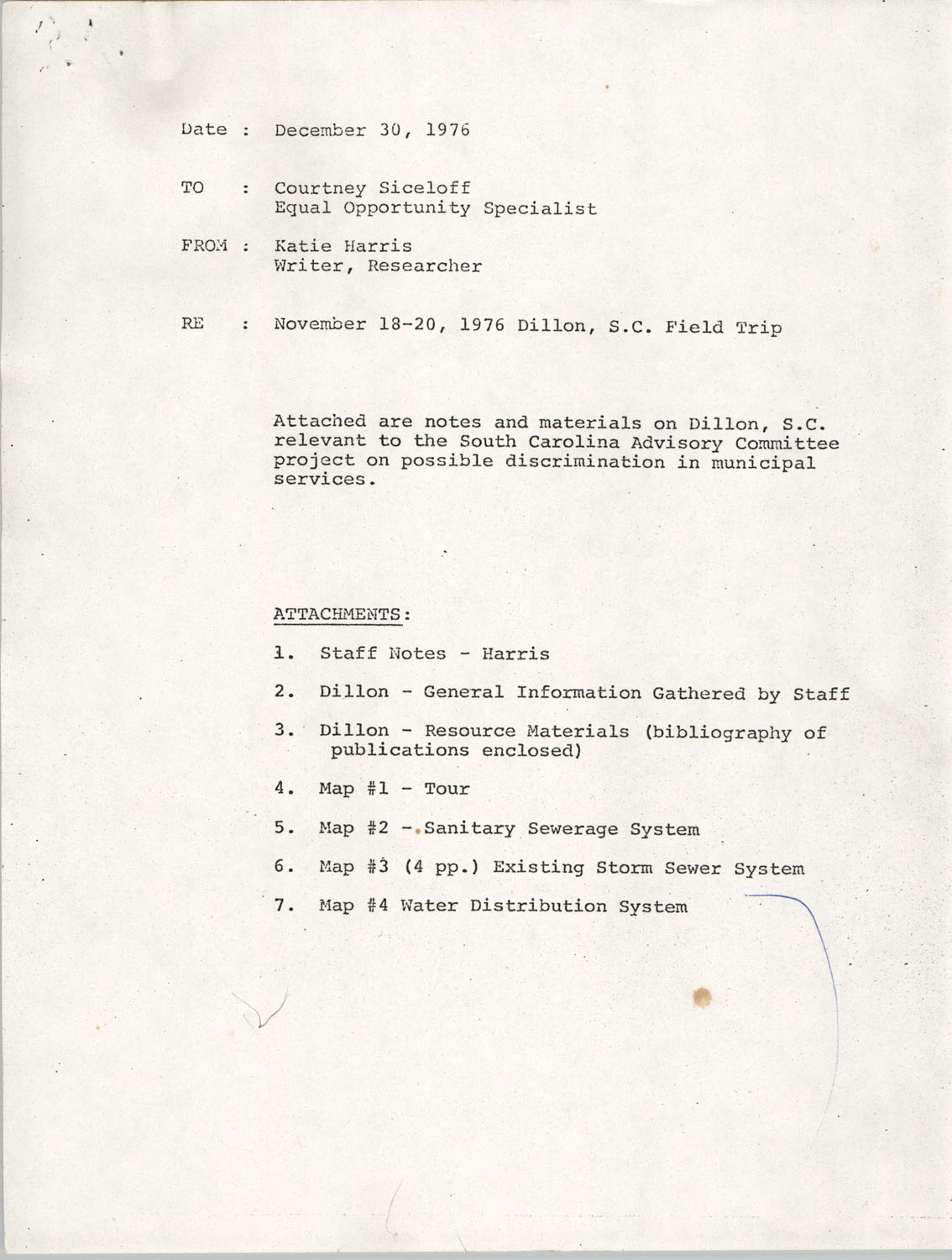 Information on Mullins and Dillon, South Carolina, December 30, 1976