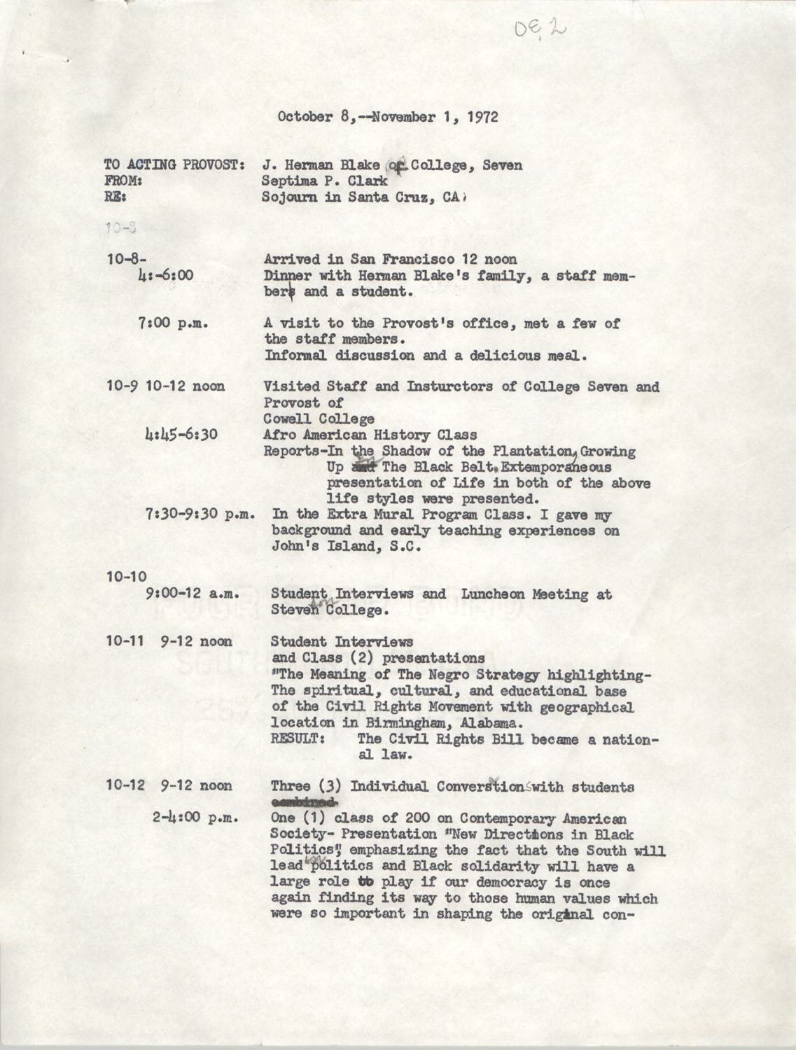 Schedule for Sojourn in Santa Cruz, College Seven, October 8 to November 1, 1972