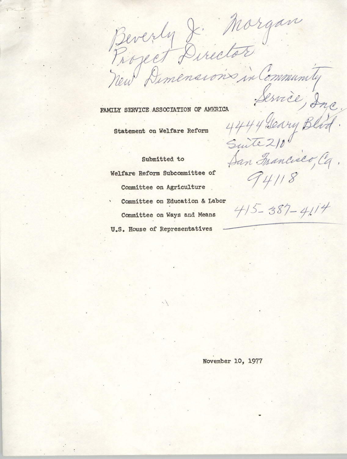 Statement of Welfare Reform, Family Service, November 10, 1977