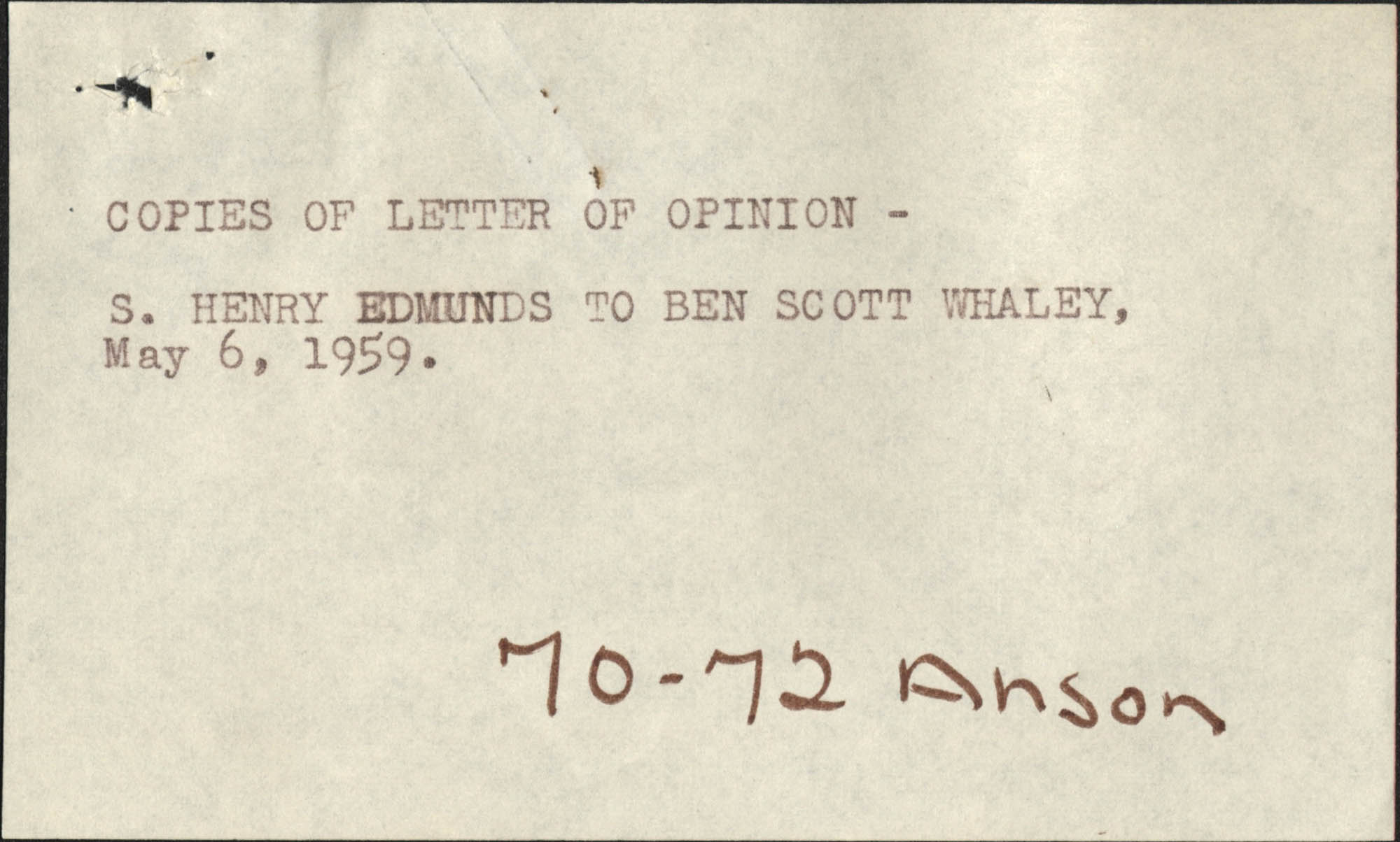 Letter from S. Henry Edmunds to Ben Scott Whaley, May 6, 1959