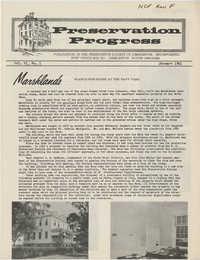 Preservation Progress, Vol. VI, No. 1