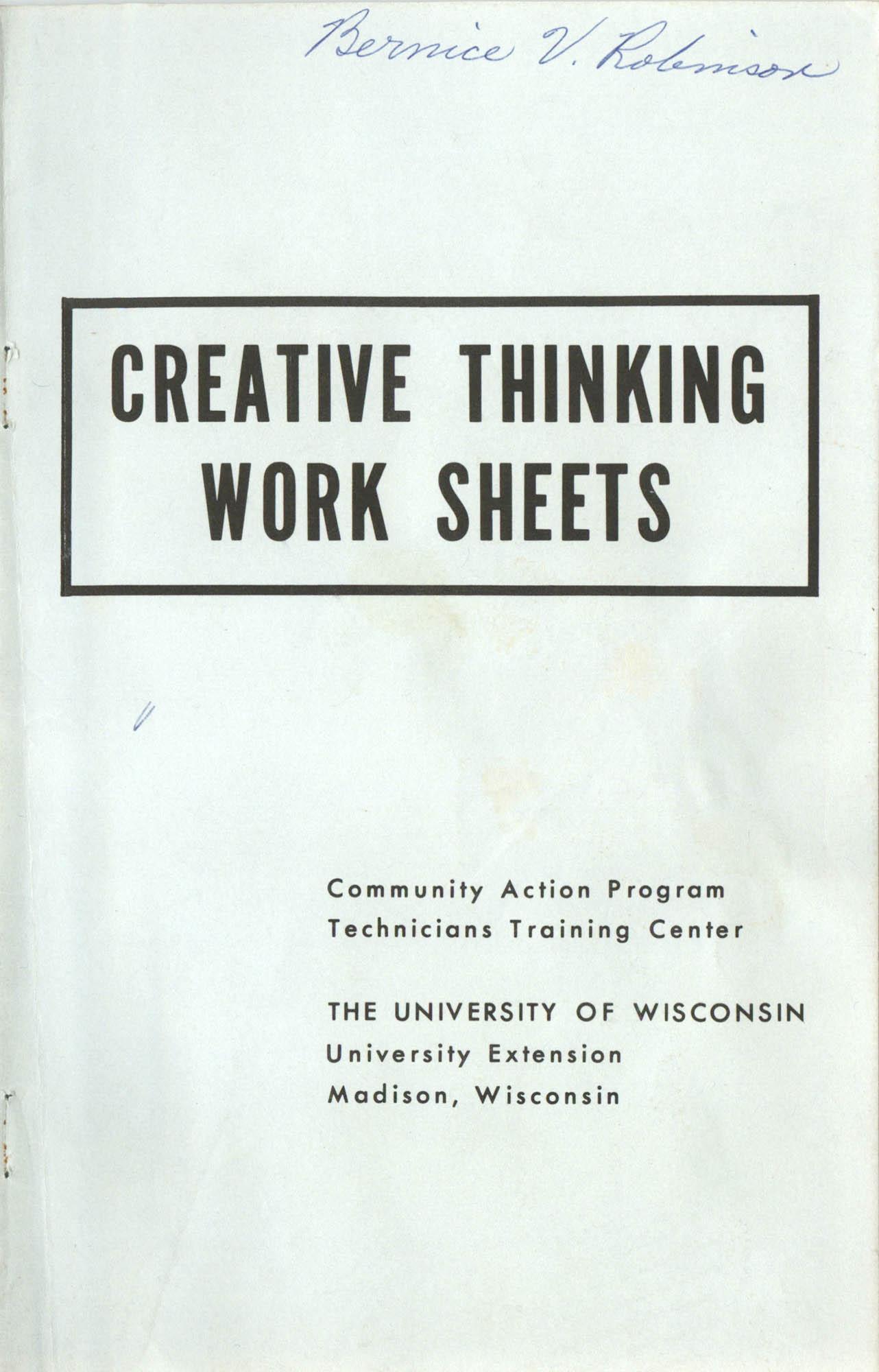 Creative Thinking Work Sheets