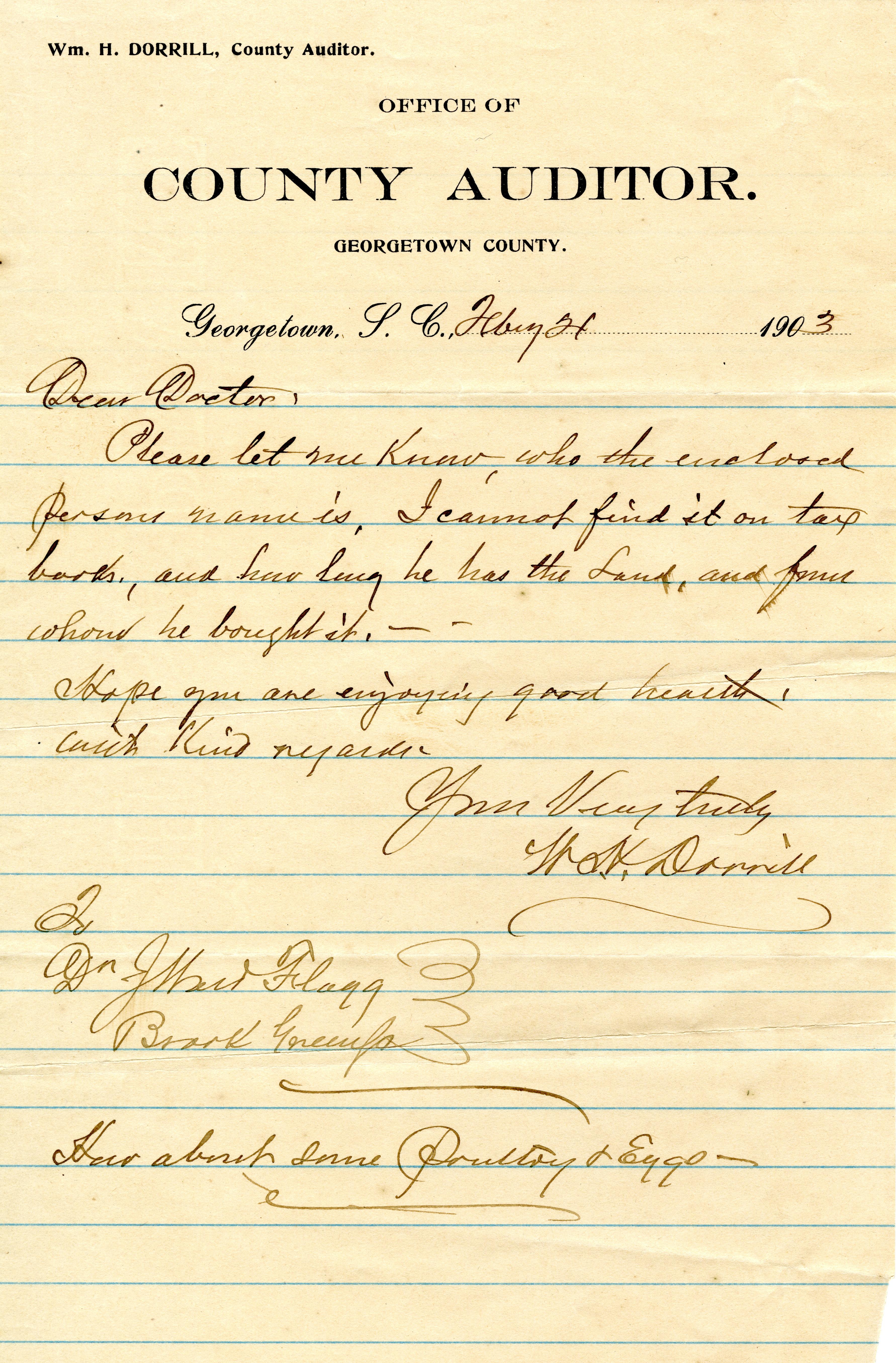 Dirleton Plantation Memorandum Book, Page 1