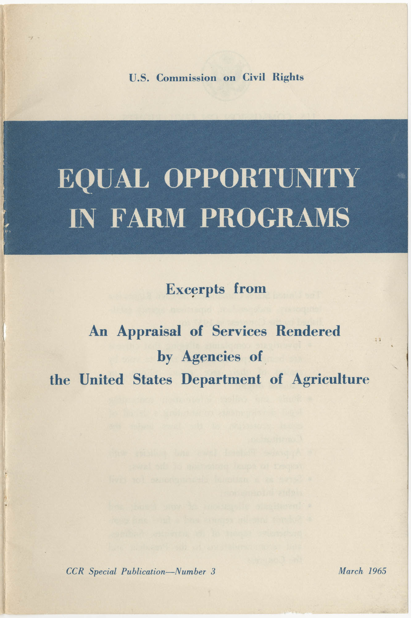Equal Opportunity in Farm Programs