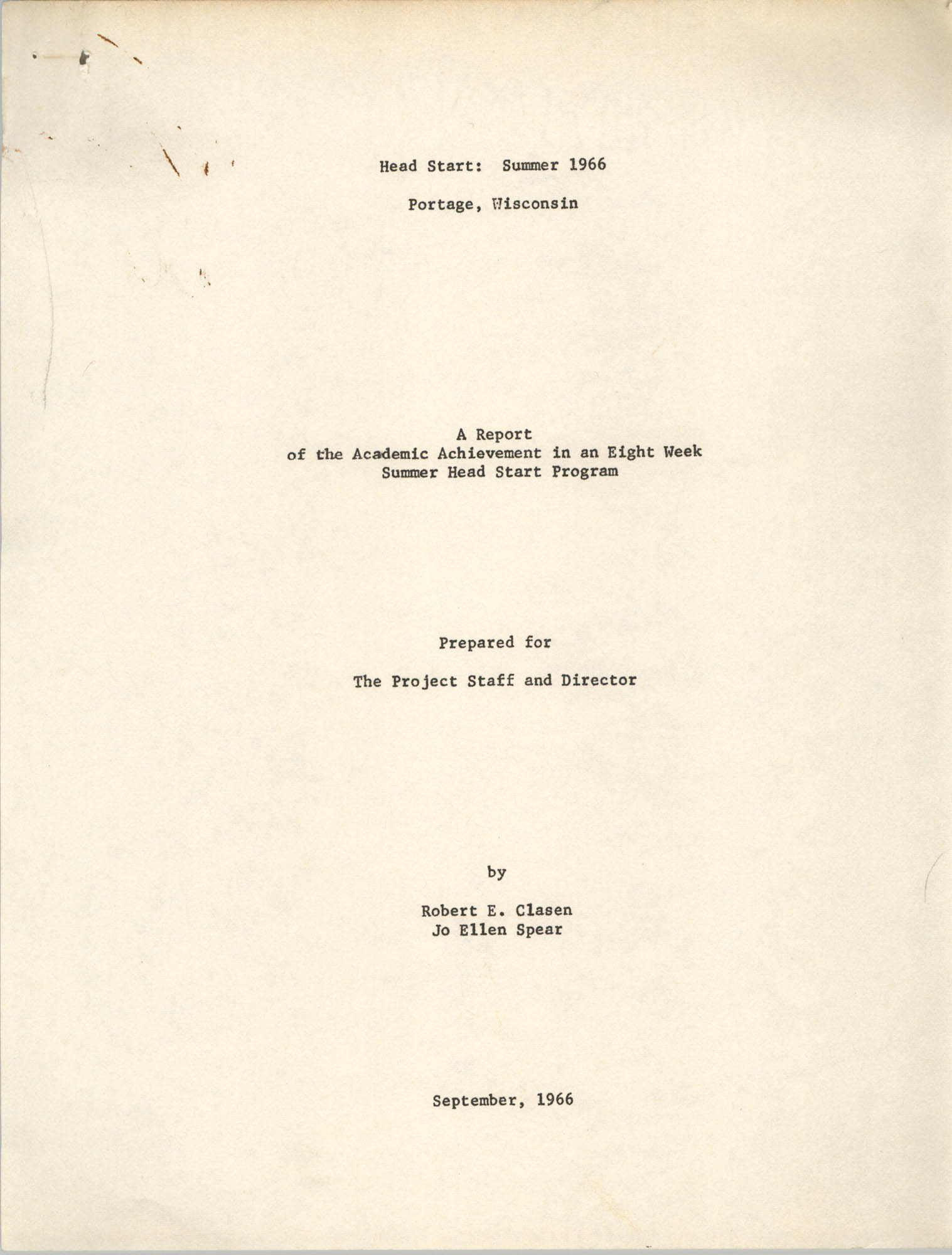 Head Start: Summer 1966