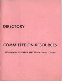 Highlander Research and Educational Center's Committee on Resources Directory