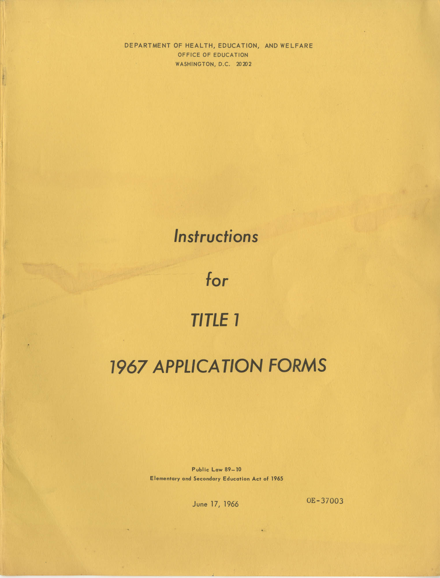 Instructions for Title 1, 1967 Application Forms