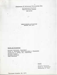 Josephine H. McIntosh Foundation Grant-Making Activities Report for 1972