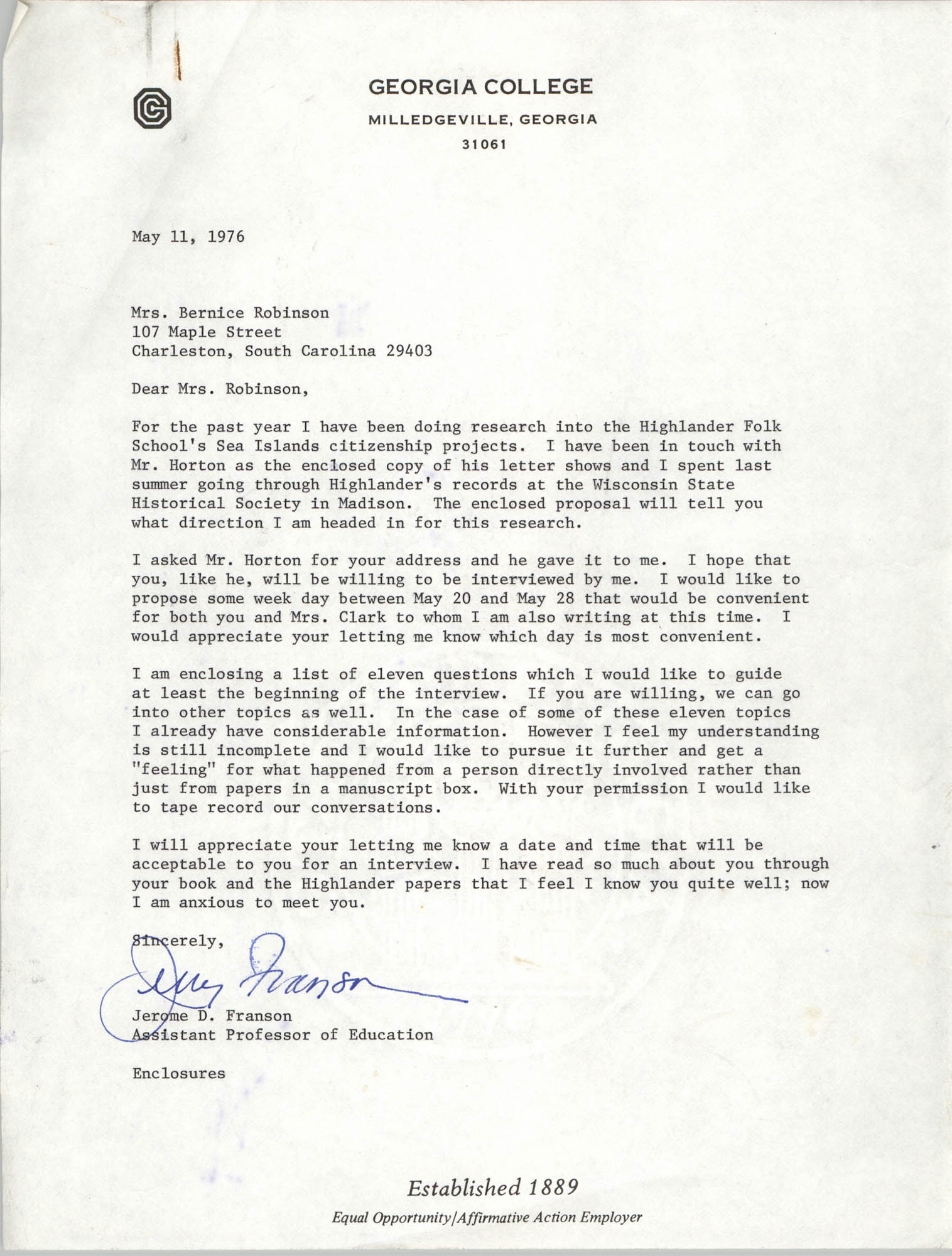 Letter from Jerome D. Franson to Bernice Robinson, Dissertation Proposal