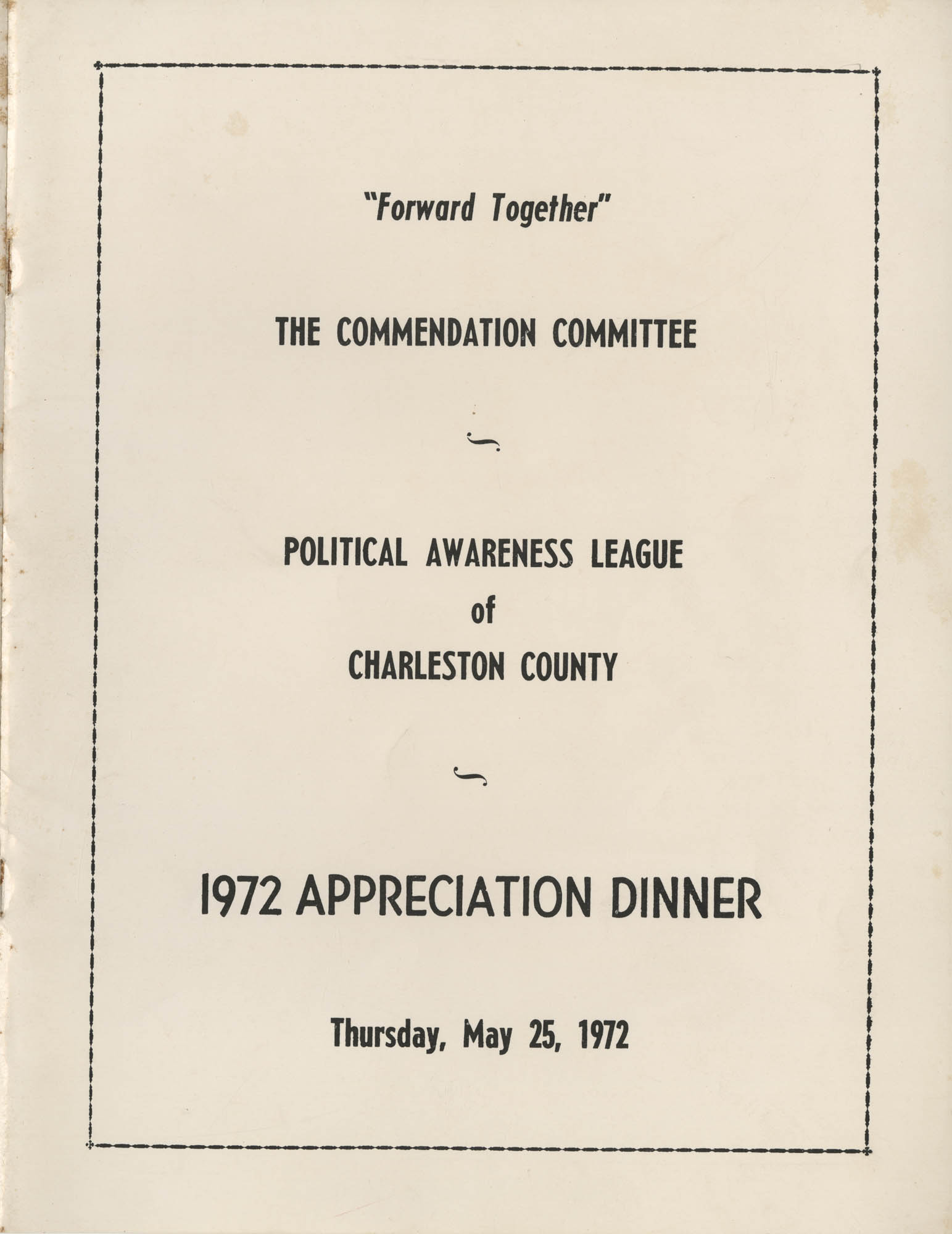 Political Awareness League of Charleston County, 1972 Appreciation Dinner Program