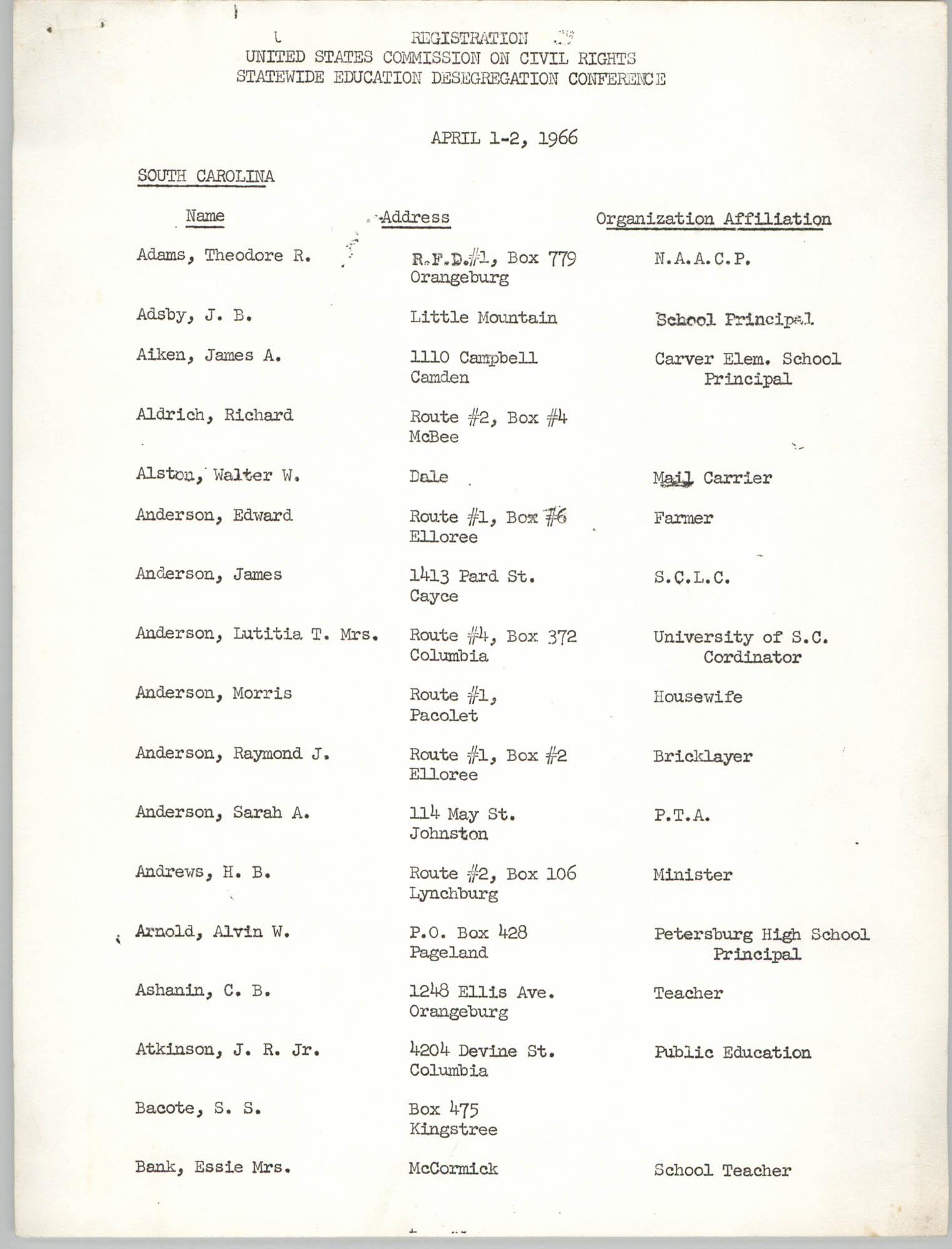 Registration, U.S. Commission on Civil Rights, Statewide Education Desegregation Conference