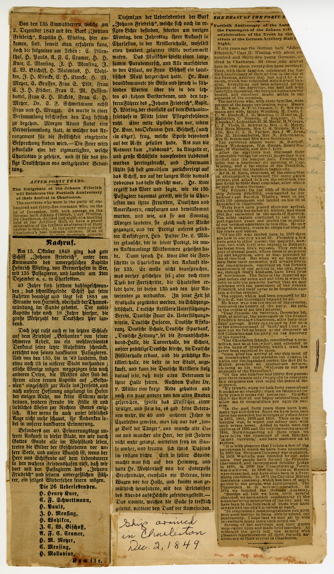Newpaper Clippings of Fortieth Anniversary of German Immigrant Arrival in Charleston