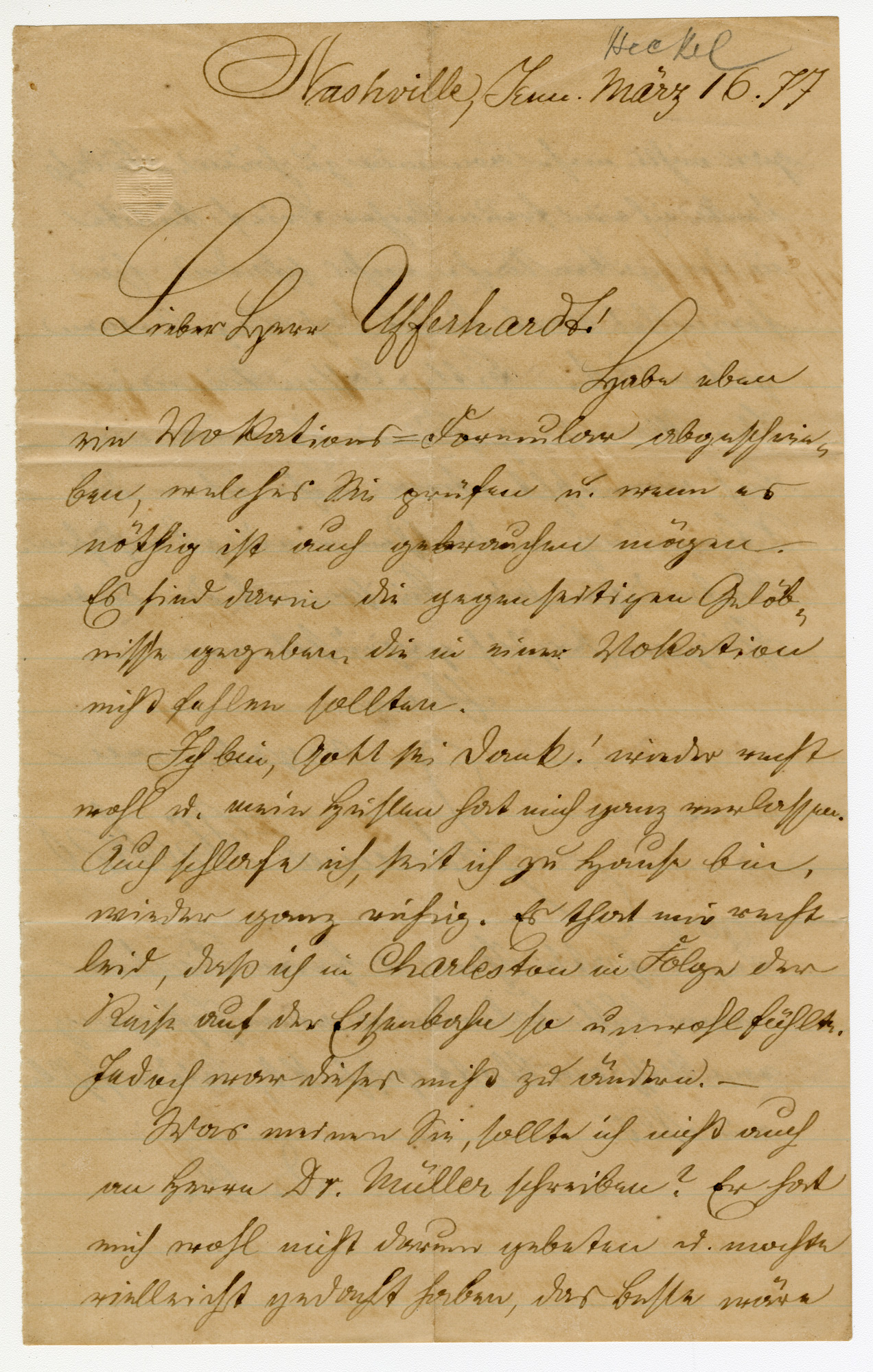 Letter from Johannes Heckel to William Ufferhardt, March 16, 1877