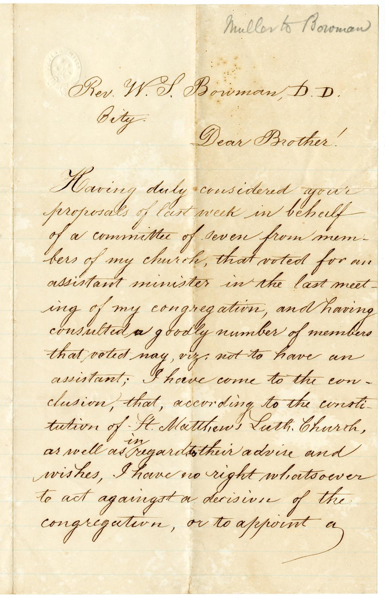 Letter from Pastor Muller to Reverand W. L. Bowman, April 16, 1877
